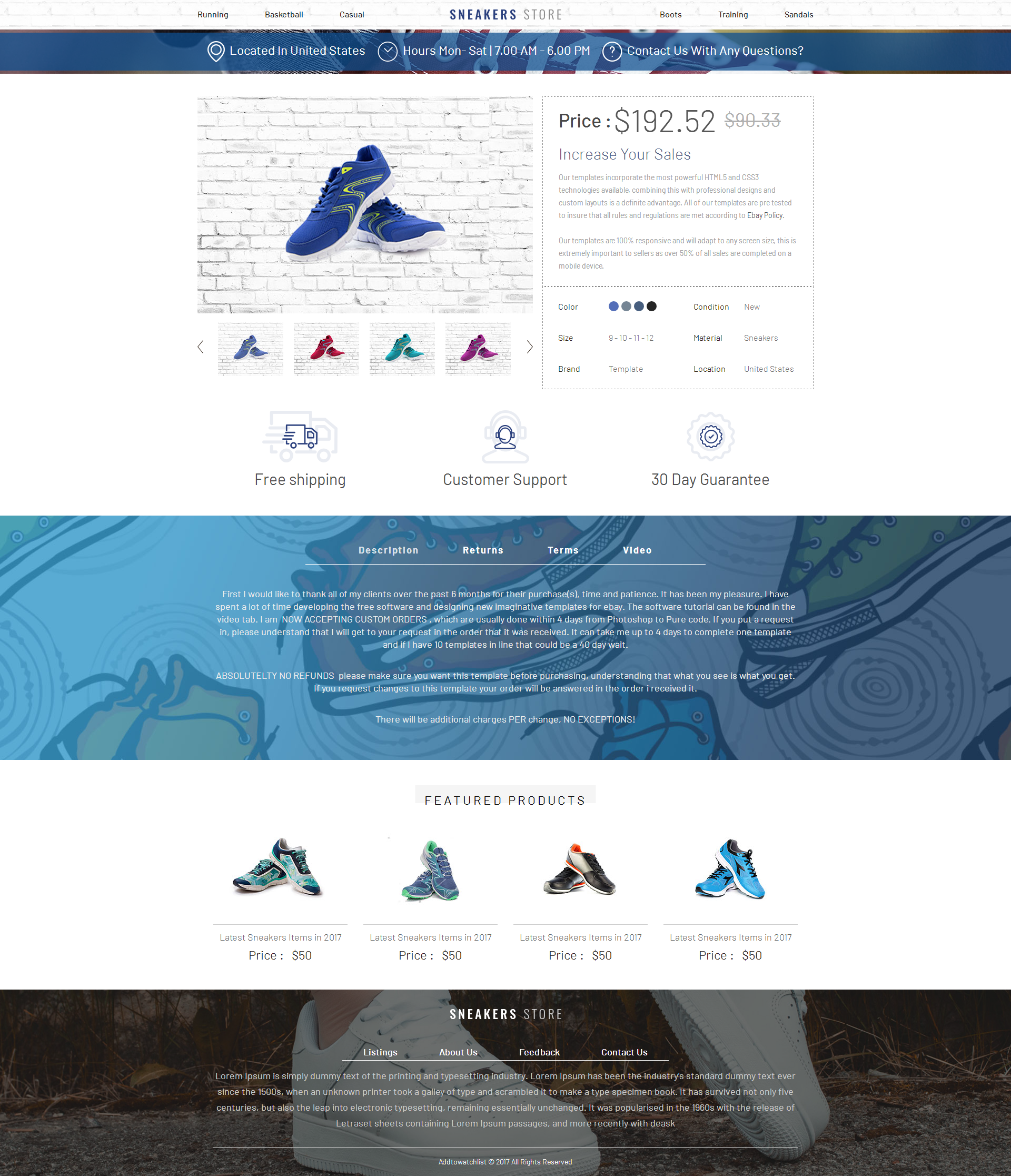 listing template, responsive Template eBay, Auction Template, html ...