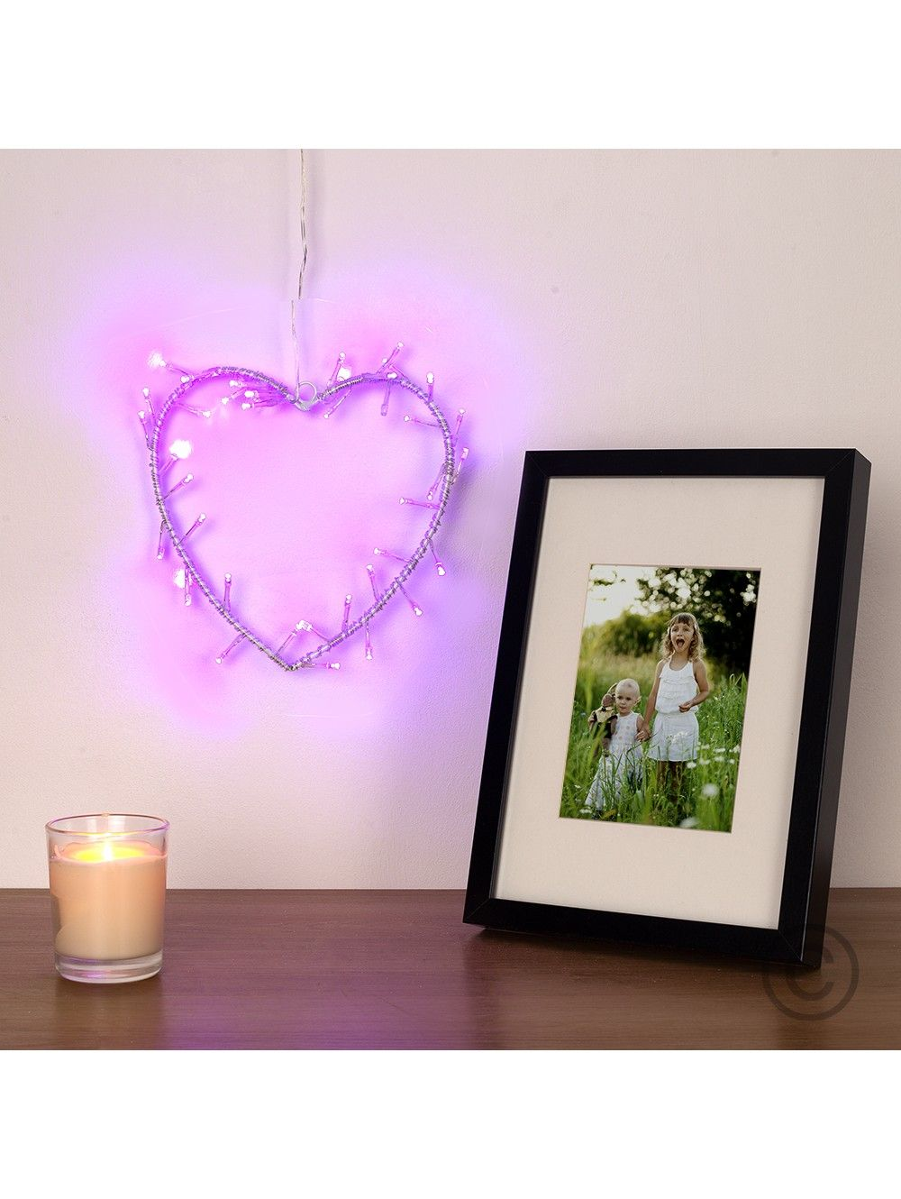 Battery Operated Heart Shaped Wall Plaque With 40 Purple Leds