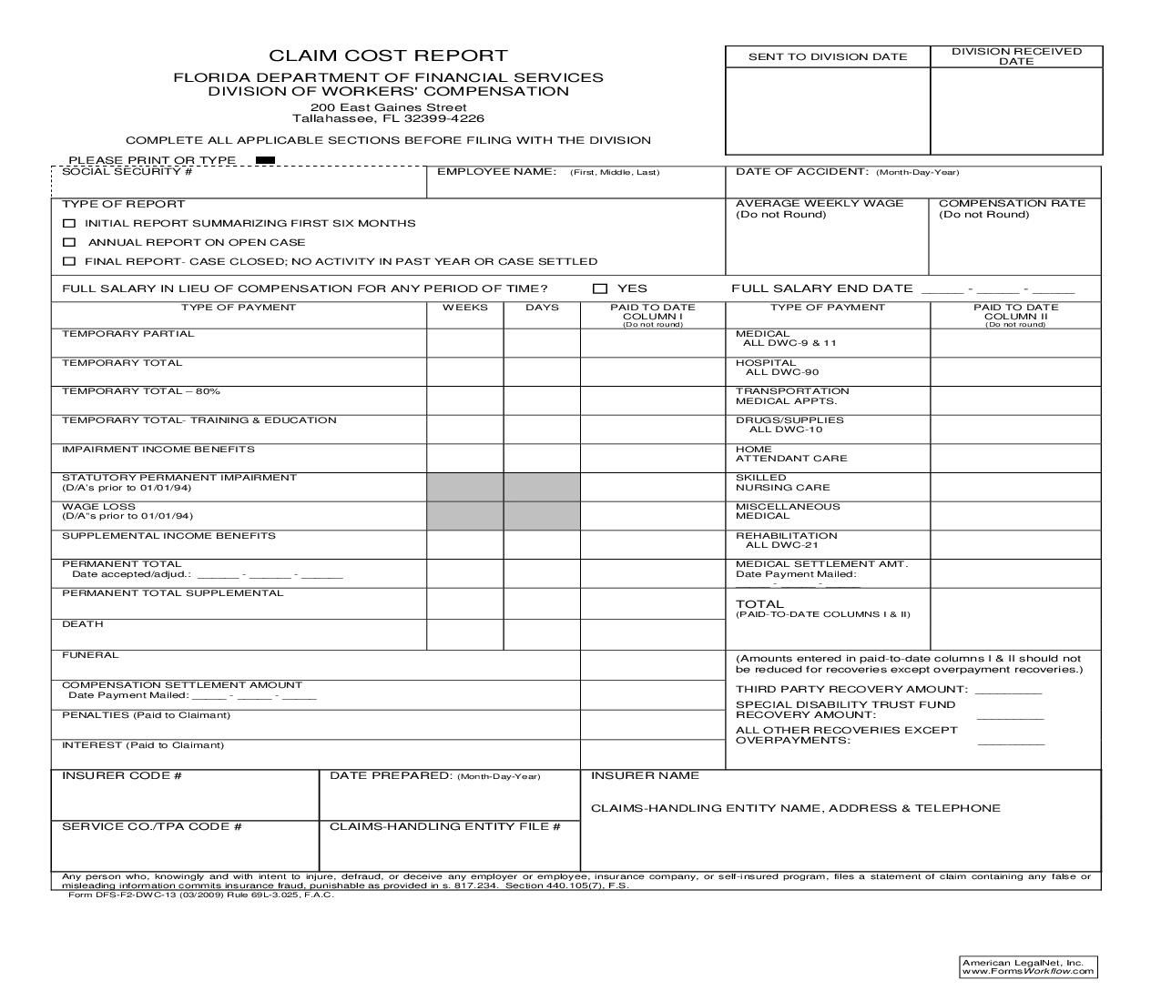 Claim cost report florida financial services report