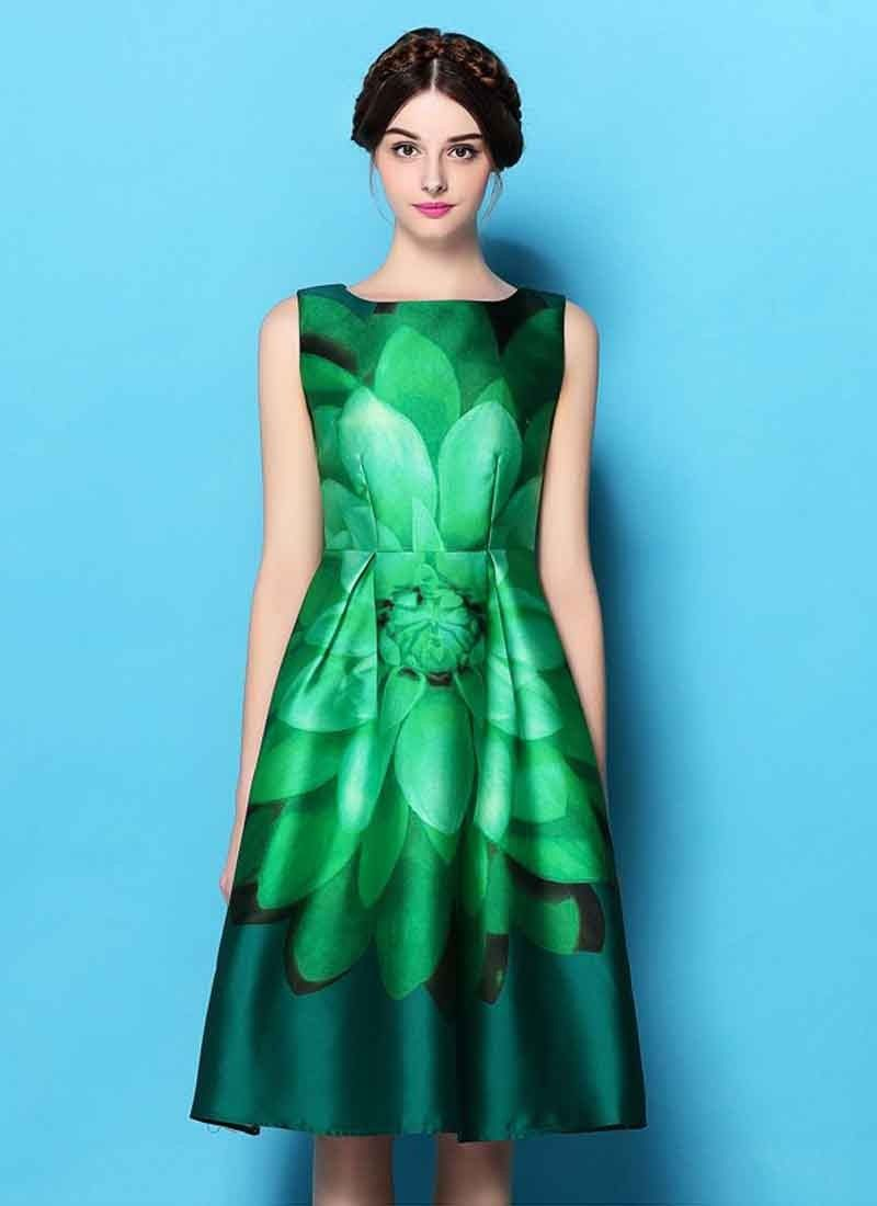 New Green Colour Printed Raw Silk Fancy One Piece Dress For Girl ...