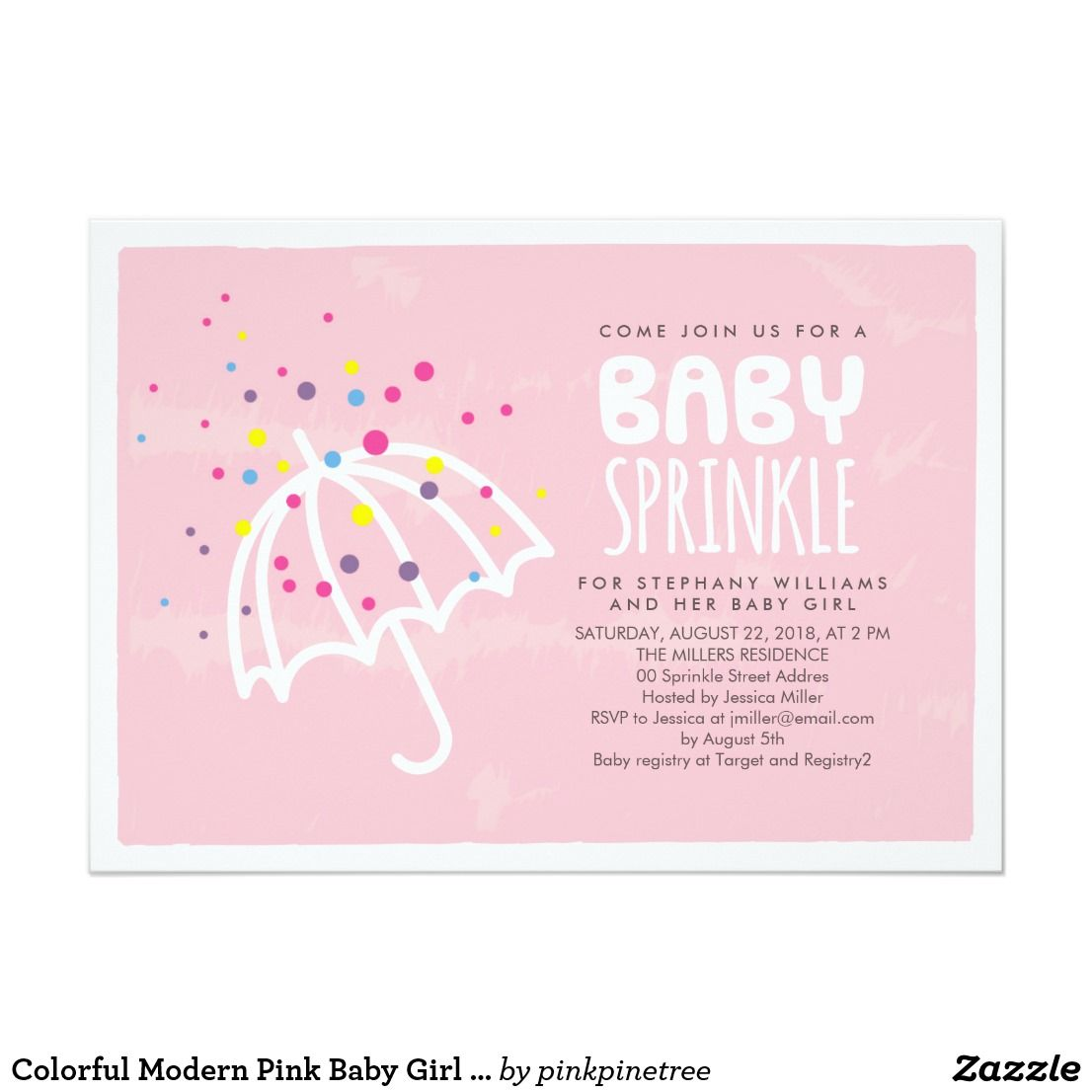 Colorful Modern Pink Baby Girl Sprinkle Invitation | Mom and Kids ...