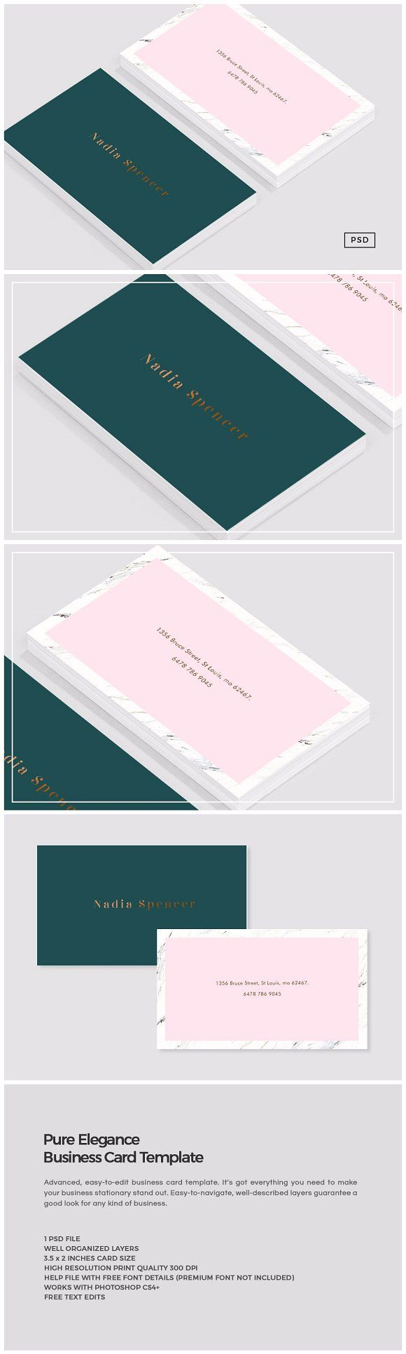 Pure Elegance Business Card Template | Identidad visual