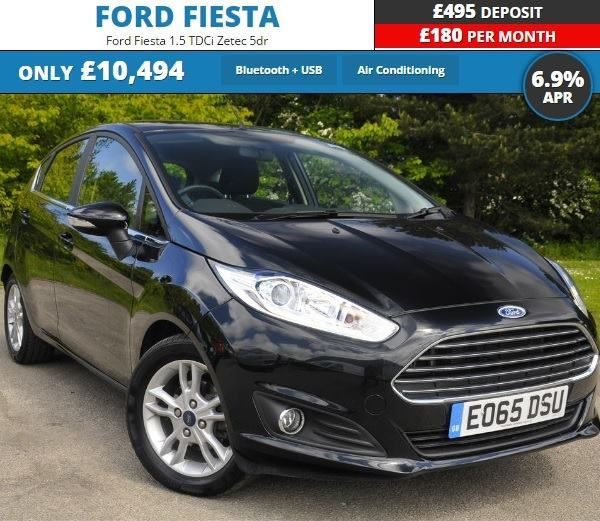 "Special Offer Save 500. Only 180 per month with a 495 deposit. Ford Fiesta 1.5 TDCi Zetec 5dr Panther black 2015. For more information visit: https://www.jenningsforddirect.co.uk/used/view/ford/fiesta/reg/eo65dsu/ Air Conditioning 15"" Alloy Wheels Quick clear Heated Windscreen Bluetooth  USB ESP Rear Spoiler Electric Windows https://www.jenningsforddirect.co.uk/used/view/ford/fiesta/reg/eo65dsu/"