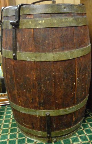 Antique Primitive Wooden Barrel W Hinged Metal Lid Wooden Barrel Barrel Antiques