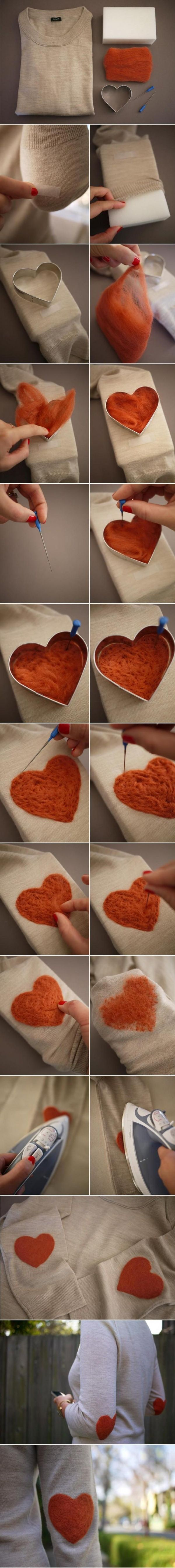 #DIY Felting - this is actually really easy to do... I may have to make these heart elbow patched for a blazer for my baby girl... so cute :)