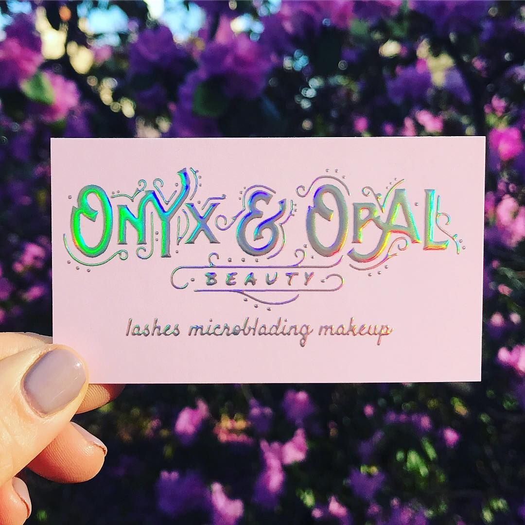Very Obsessed Raised Unicorn Foil Business Cards Designed And Printed For Onyx And Opal Bus Foil Business Cards Beauty Business Cards Cute Business Cards