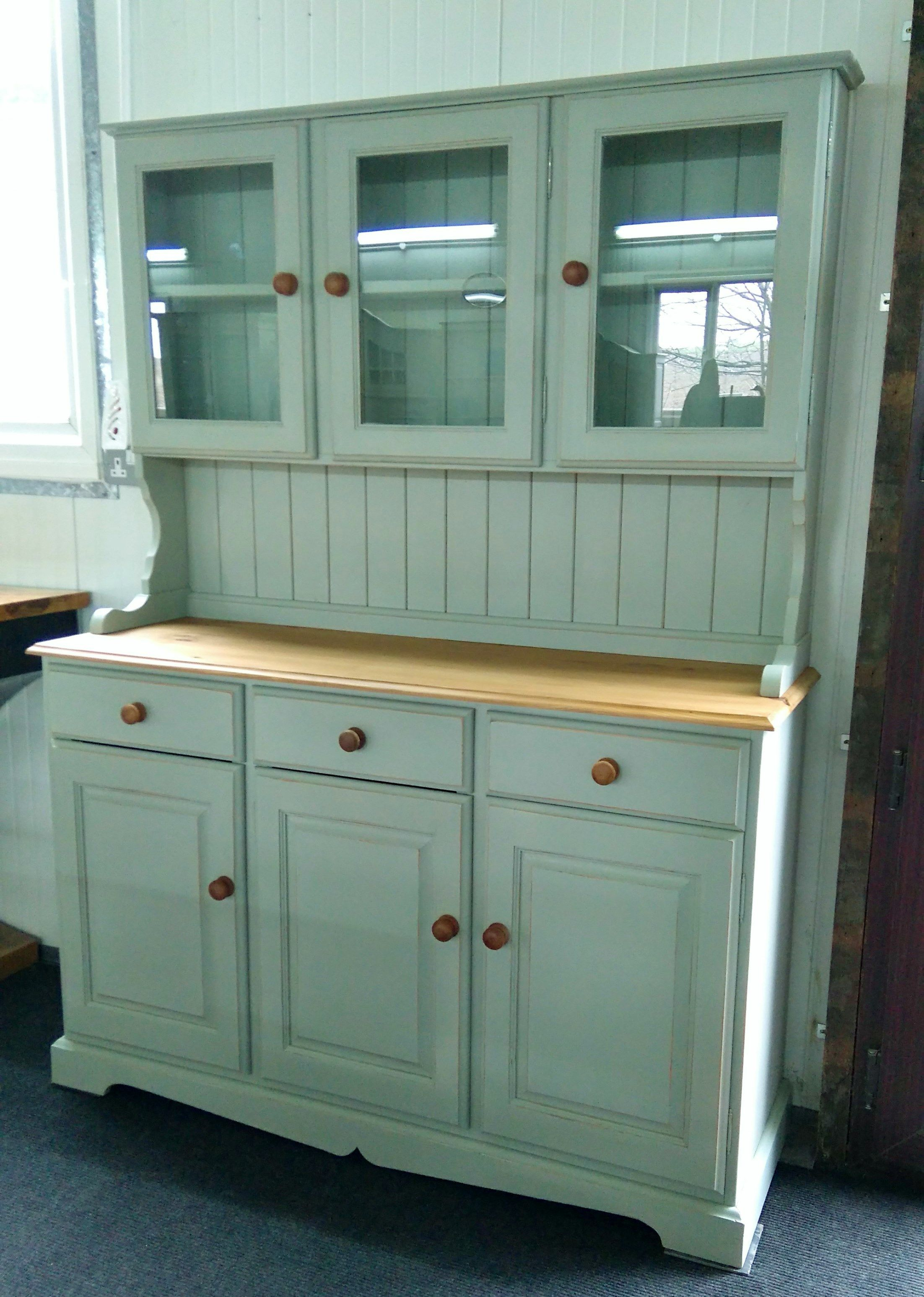 Pine glazed 4FT 6 wide dresser painted