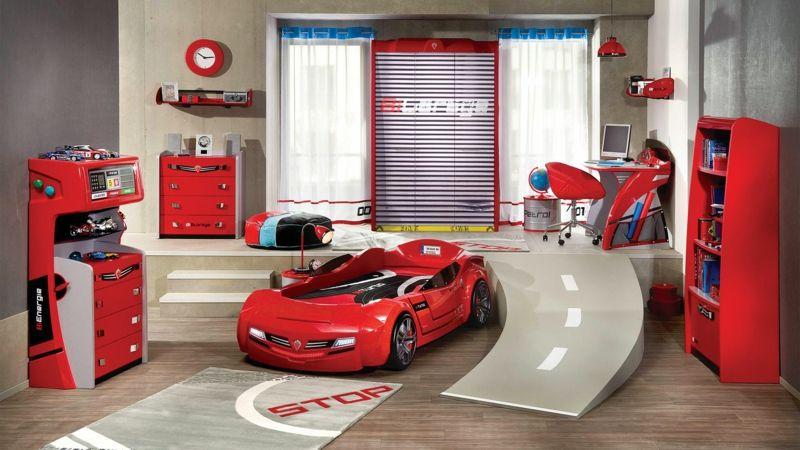 ausgefallene Kinderbetten Auto-Form Kindermöbel komplett rot ...