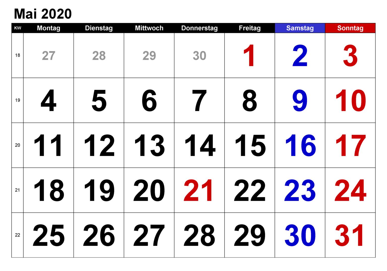kalender mai 2020 zum ausdrucken