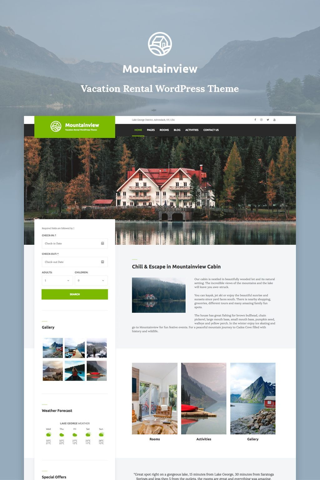 Mountain View  Vacation Rental WordPress Theme 70585