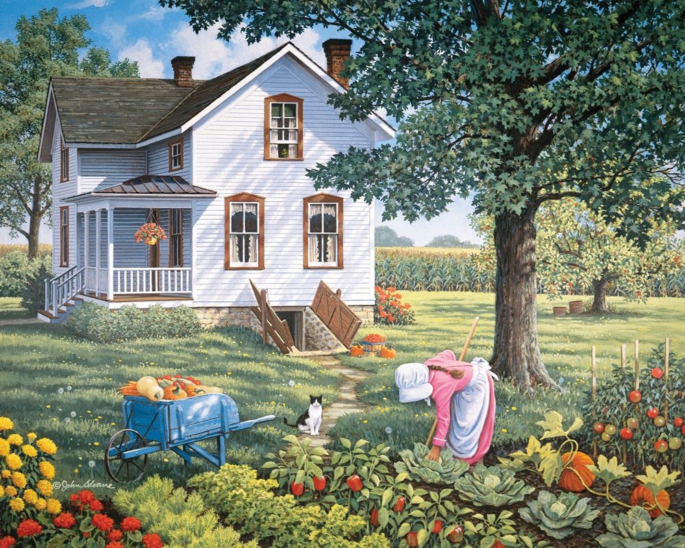 John sloane country home in the summer garden art for Ranch and rural living