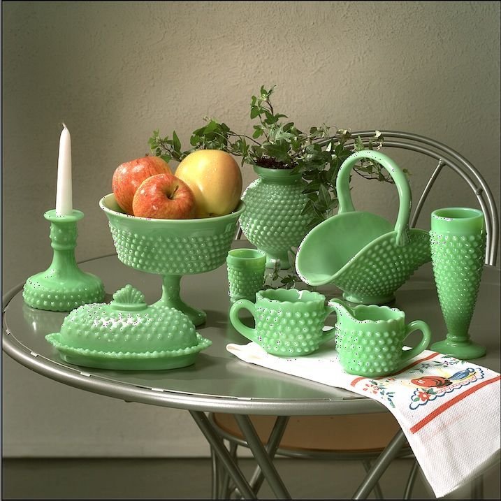 green milk glass hobnail  smith glass co  Not sure about the lcolor but I love the shapes! is part of Hobnail milk glass -