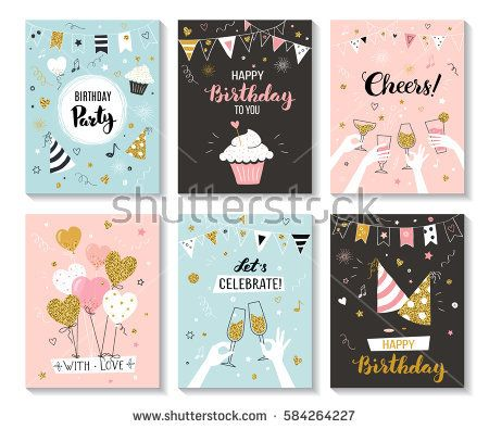 Happy Birthday Greeting Card And Party Invitation Templates Vector Illustration Hand Dr Birthday Invitation Card Template Birthday Cards Birthday Card Design