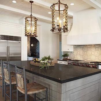 Gray Wash Kitchen Island With Black Granite Countertops Black