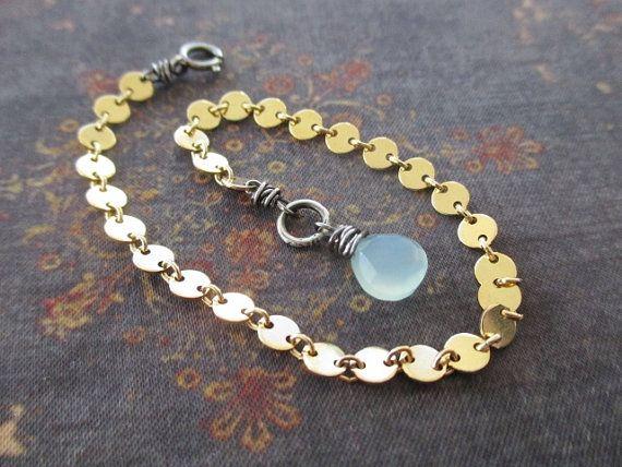 Tiny chalcedony gold fill bracelet Dew Drop blue green