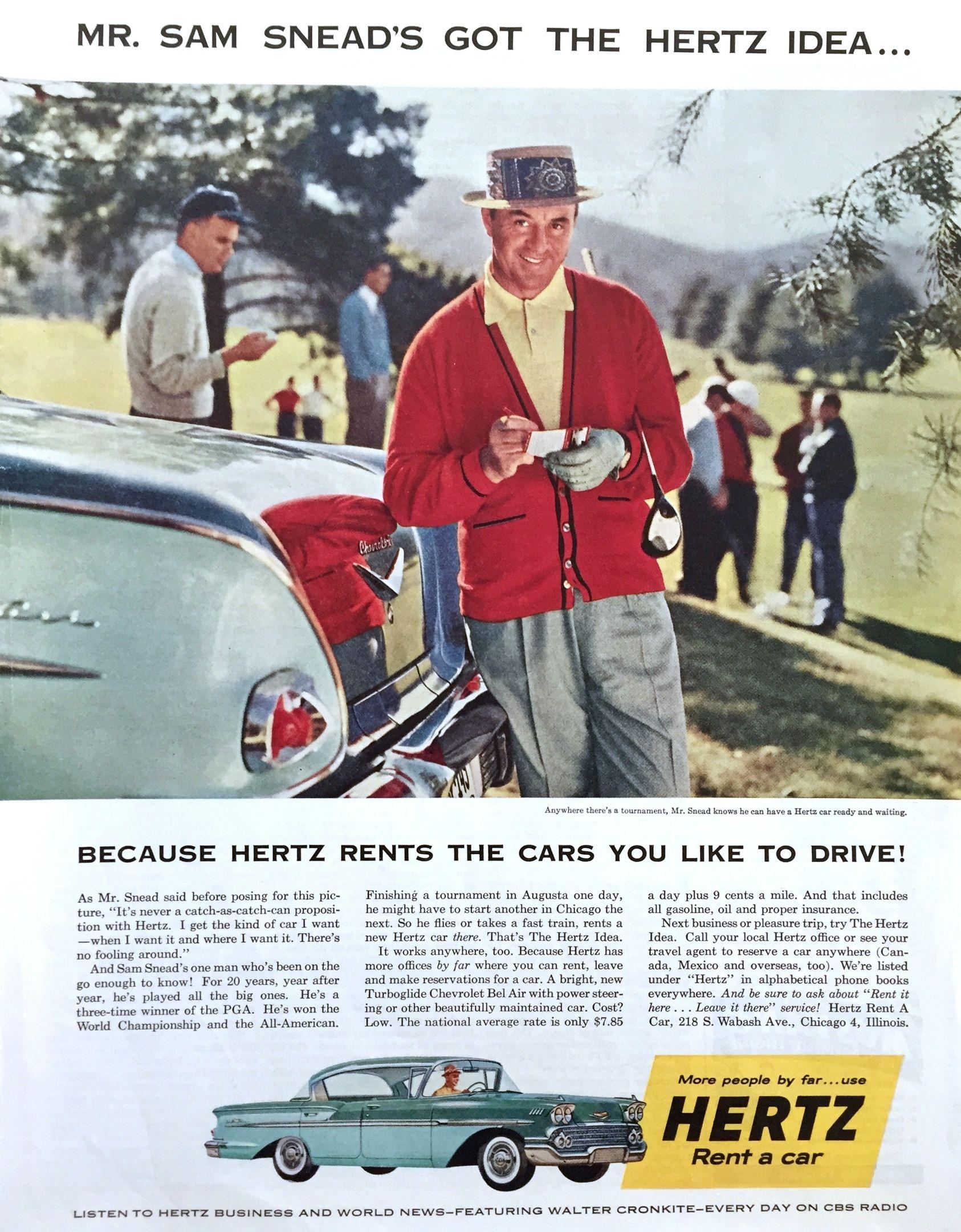 Реклама Hertz, 1950е Car advertising, Car rental, Rent