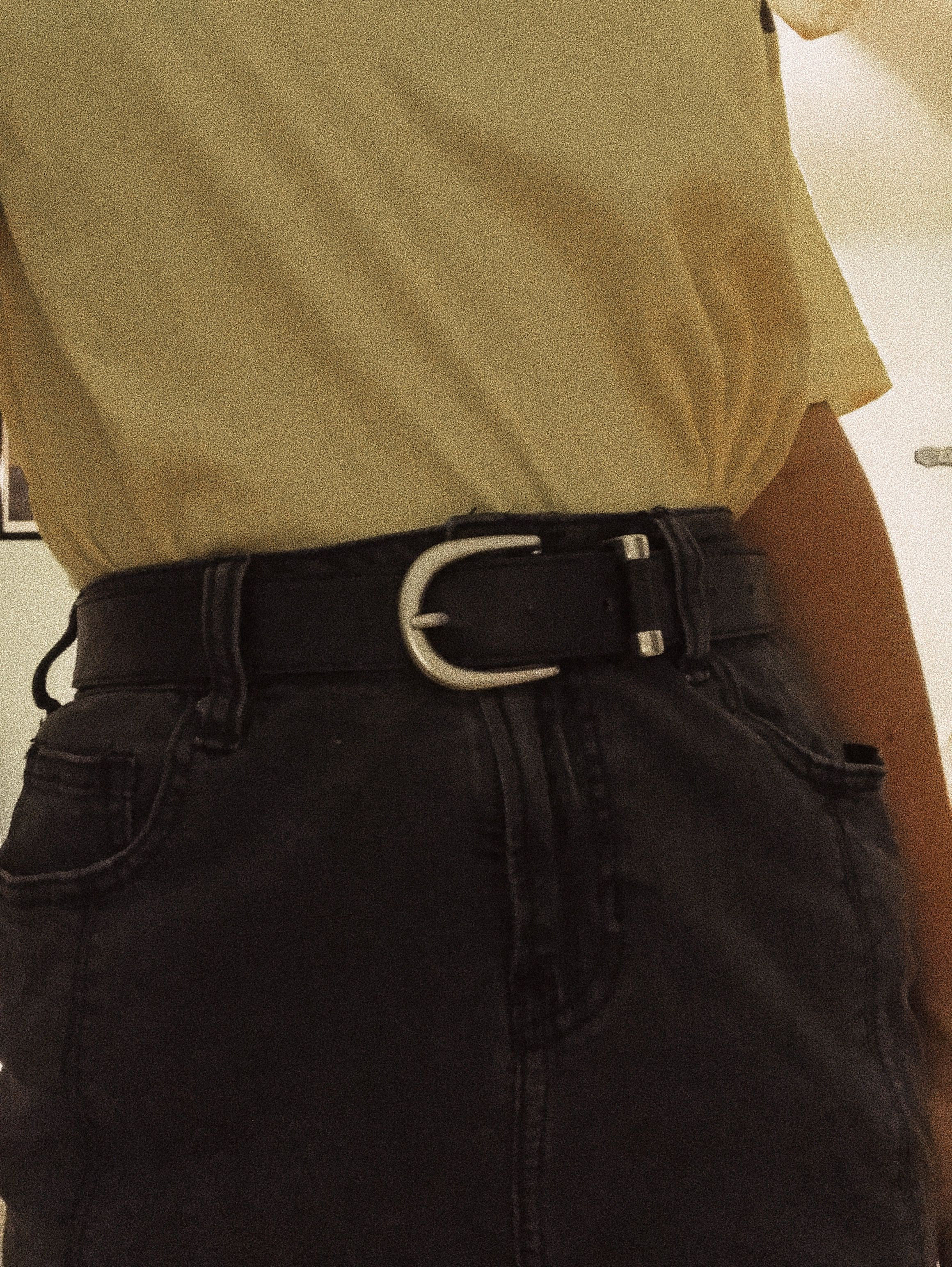 Trendy Yellow Edgy Aesthetic. Belt, Black, 90s Aesthetic
