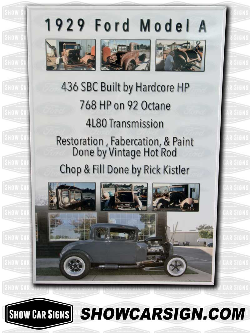 1928 ford model a car show board