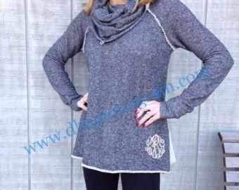 Monogrammed Cowl Neck Sweater , Monogrammed Tunic, Monogrammed ...
