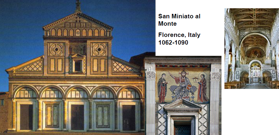 NAME: San Miniato al Monte,  LOCATION: Florence, Italy,  DATE: Romanesque,  CULTURE: Christian Italian,  FUNCTION: church,  MATERIALS: marble, wooden ceiling,  TECHNIQUES: diaphragm arches with trusses between,  NOTABLE: exterior mosaic of byzantine tradition, polychromatic marble veneer, pulpit sculpture of lion, man, eagle (mark, matthew, john)