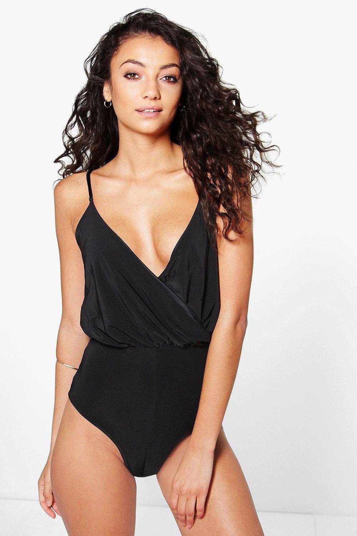 99b2c06eea Tall Anna Slinky Wrap Front Bodysuit   Boohoo køb online   Bodysuit ...