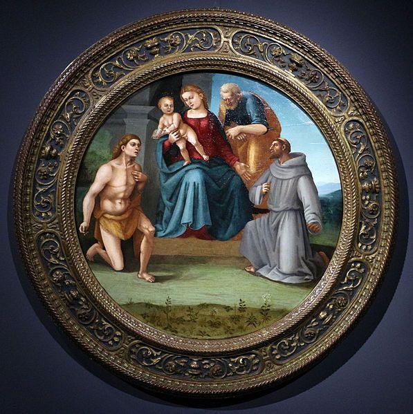 Luca Signorelli (1441-1523) e bottega - Madonna col bambino e santi. - Collezione privata