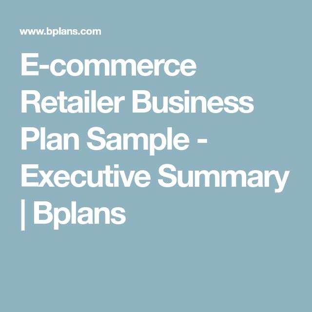 E Commerce Retailer Business Plan Sample Executive Summary