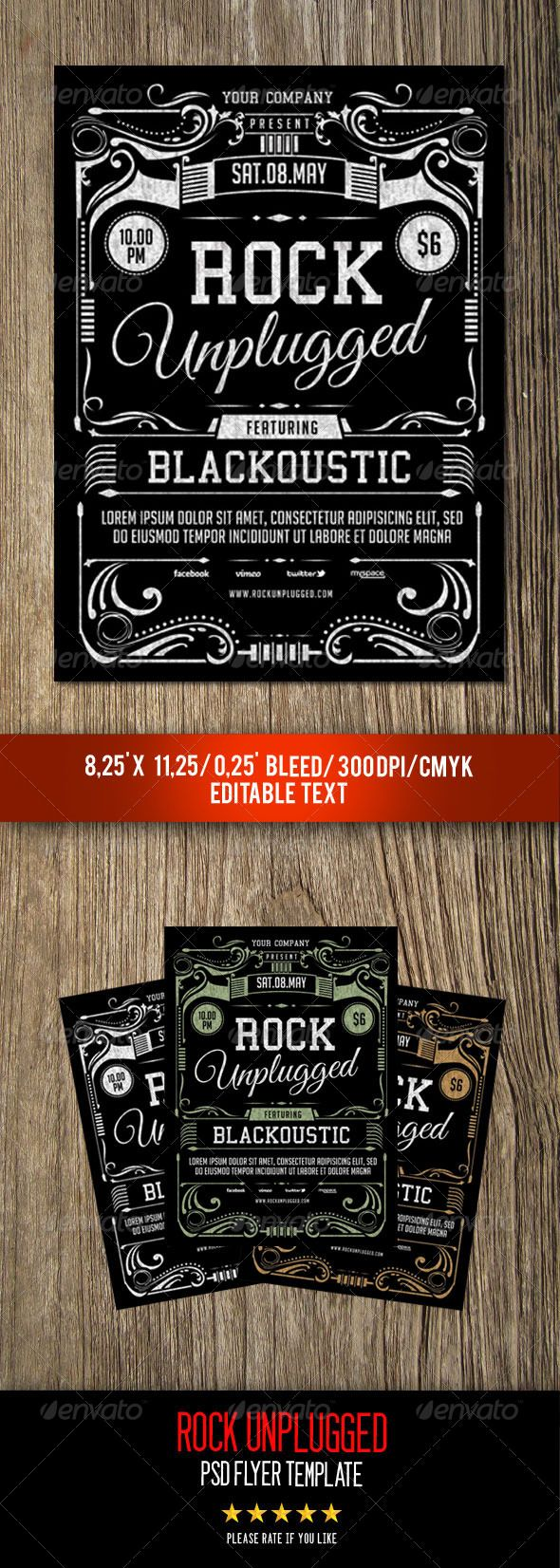Rock Unplugged Flyer Template  Flyer Template Concert Flyer And