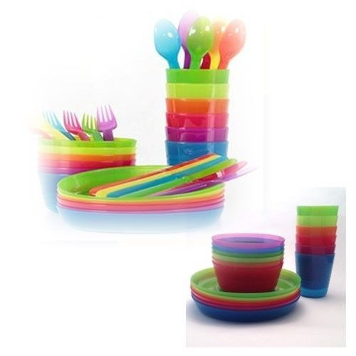 Set Of 36 Kids Childrens Ikea Kalas Bowl Tumbler Flatware Plate Bpa Free Ikea Rainbow Loom Party Ikea Plates