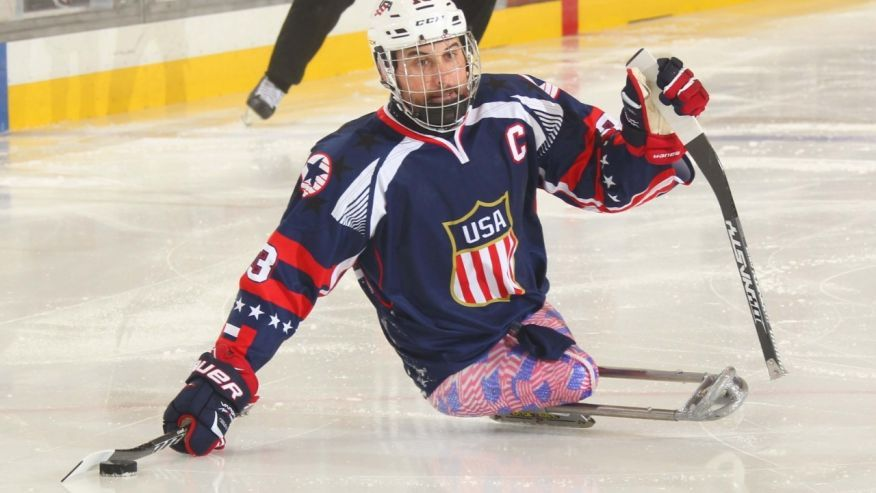 Josh Sweeney playing in the USA v Italy game at the Harborcenter in Buffalo, NY on April 29, 2015 as part of the 2015 IPC Ice Sledge Hockey World Championships A-Pool.