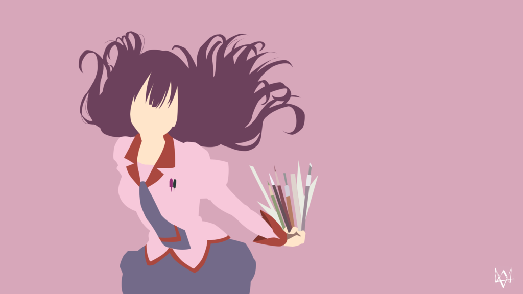 Hitagi Senjougahara Bakemonogatari Minimalist Anime Anime Wallpaper Cartoon Wallpaper