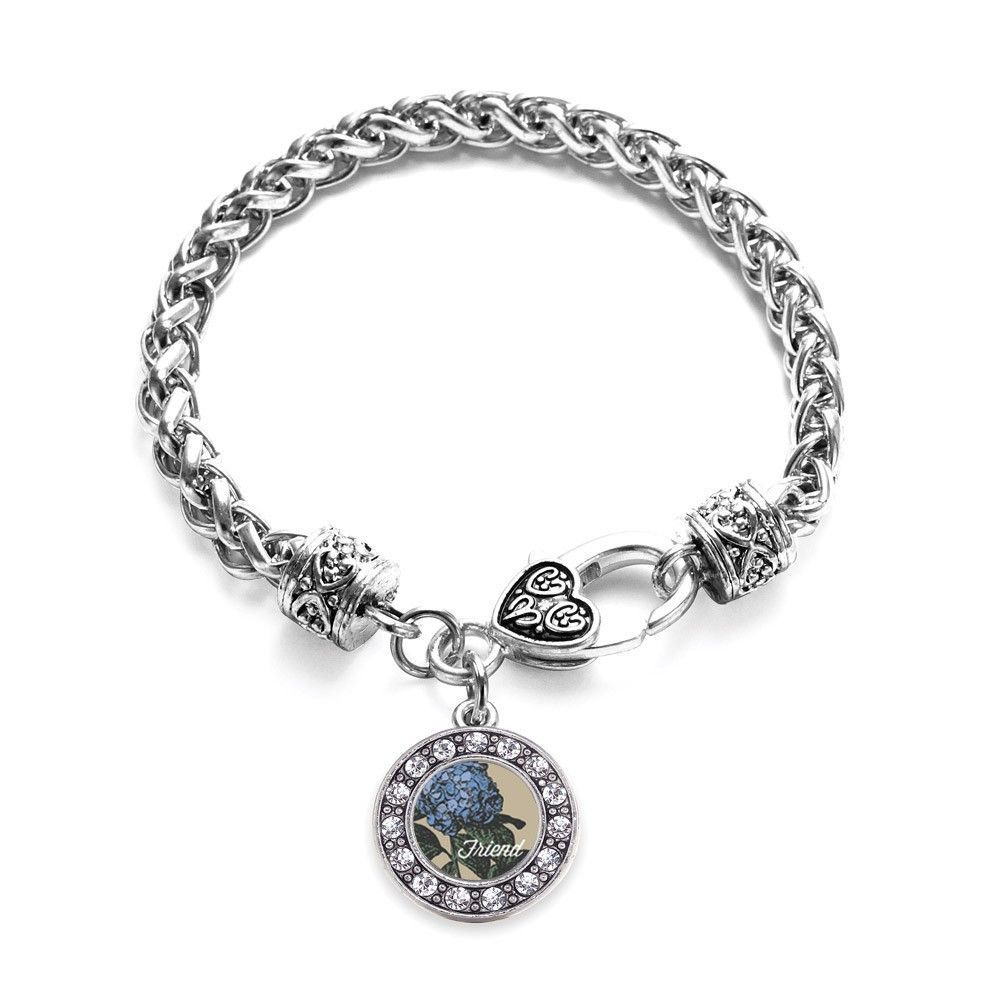 Friend Hydrangea Flower Circle Charm Braided Bracelet