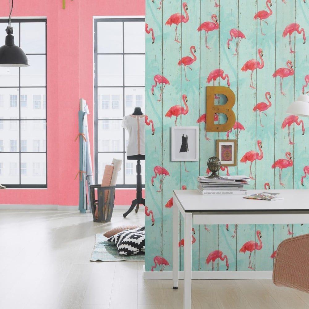 Girls Twin Bedroom With Bird Wallpaper: Rasch Wood Panel Pattern Wallpaper Faux Effect Flamingo