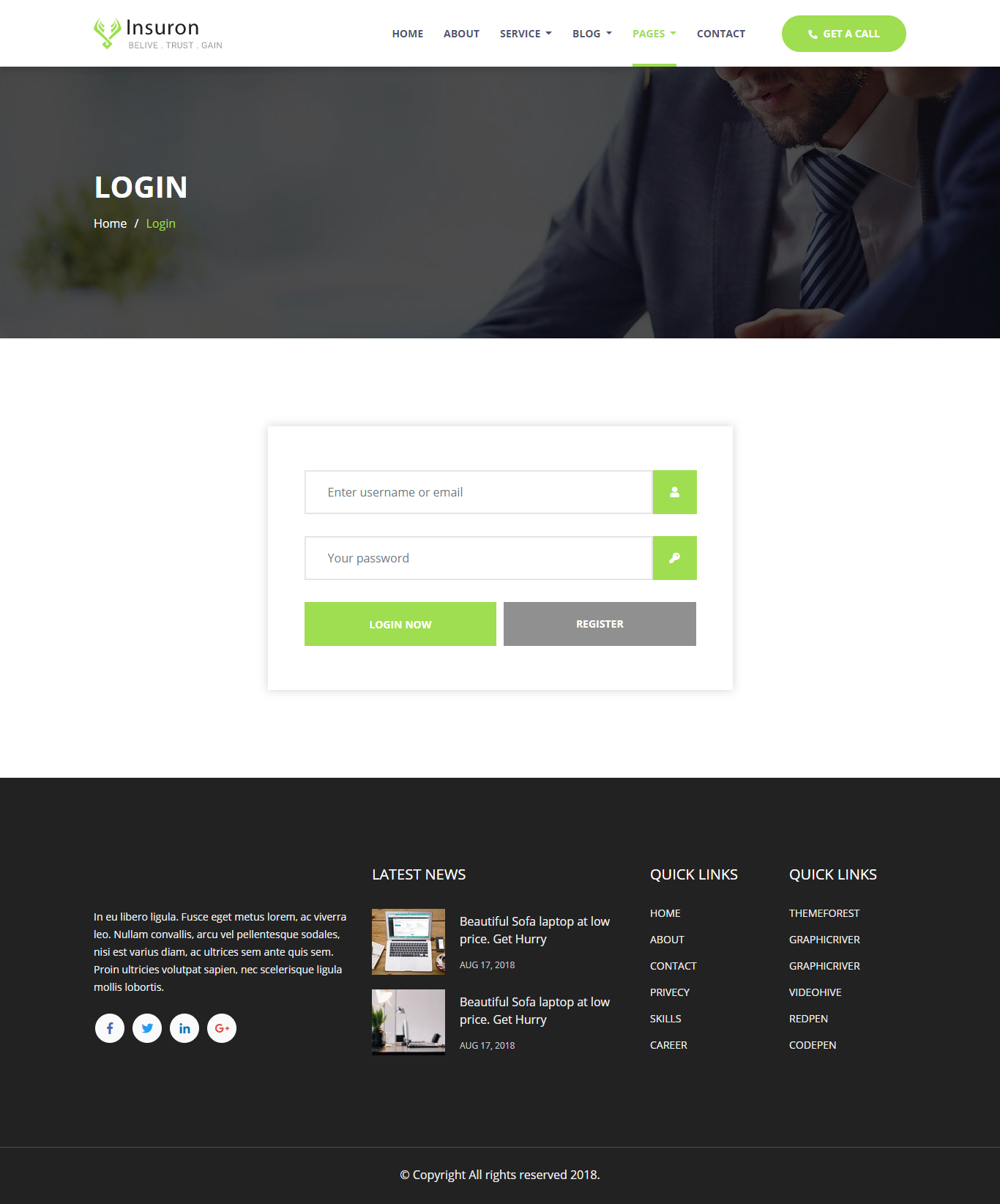 Insuron Insurance Agency Html5 Template Insurance Agency