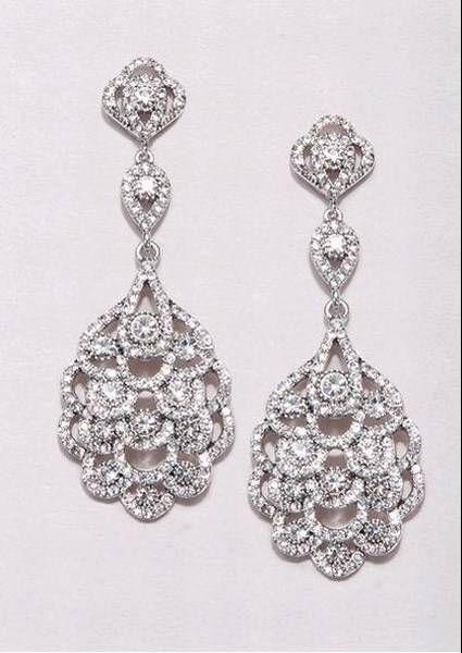 86c669de75c7 pendientes para novia en oro blanco y diamantes de estilo vintage ...