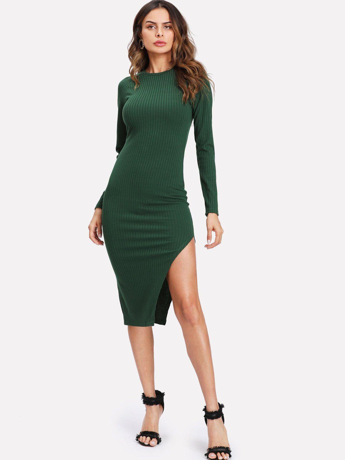 Green long sleeve cocktail dress  Asymmetrical Slit Hem Ribbed Knit Dress  Design trends Rib knit