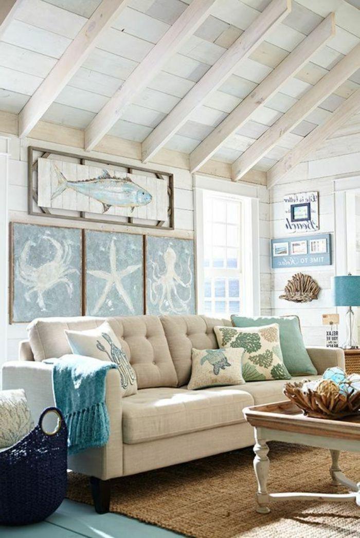 maritime deko basteln wohnzimmer dekoration maritim sofa kissen