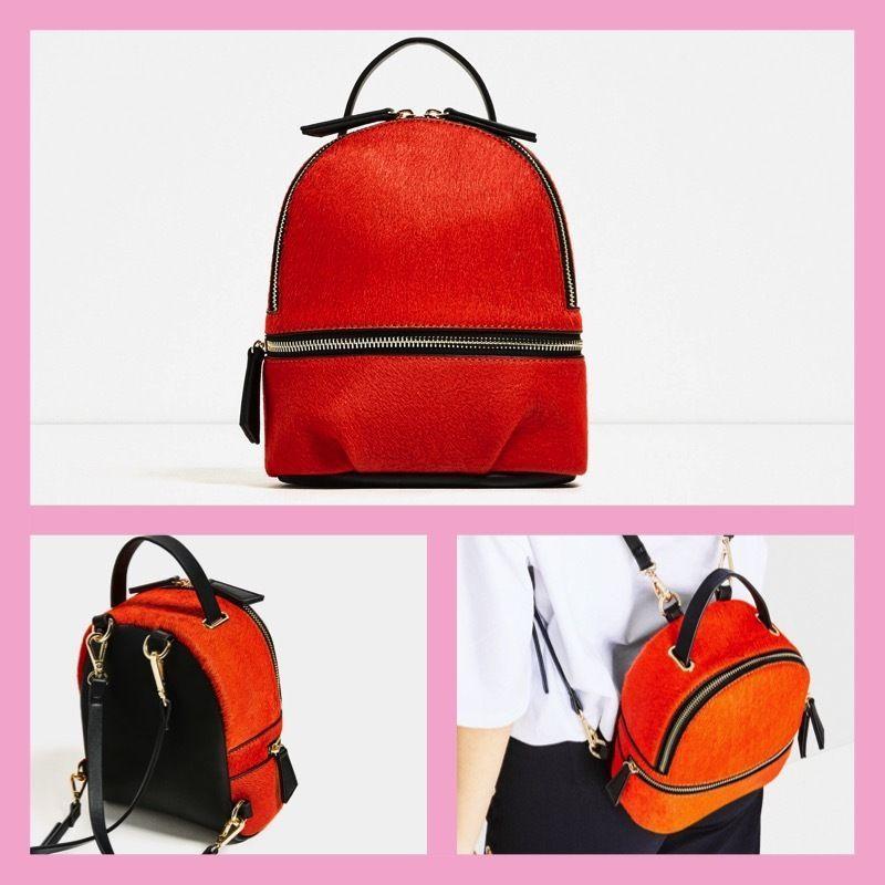 Zara MINI LEATHER BACKPACK DETAILS Orange 8072/104. New. #Zara ...