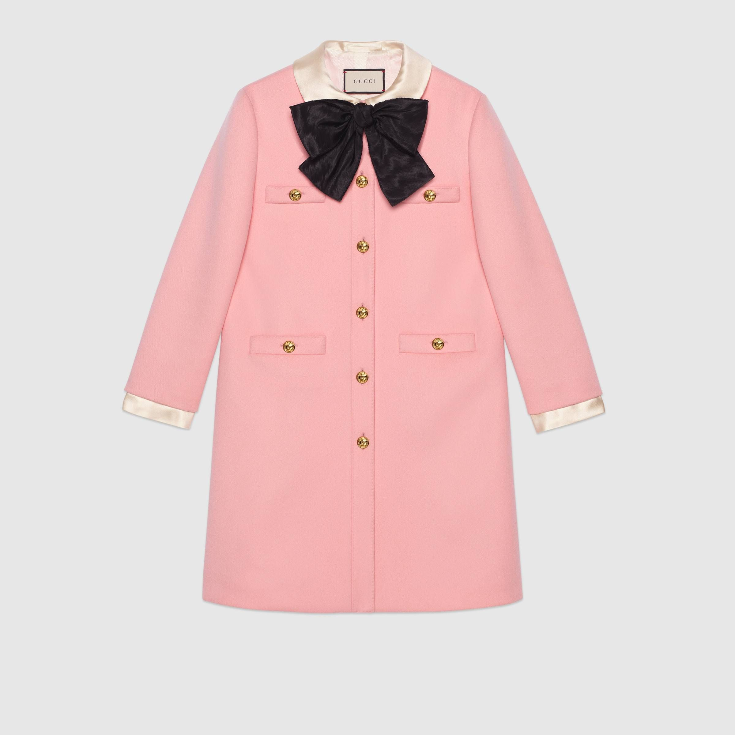 Women Fashion 2018 Elegant Pink Coat To Keep You Pretty And Warm This Winter Gucci Wool Coat With Bow Coats For Women Outerwear Women Ladies Tops Fashion [ 2400 x 2400 Pixel ]