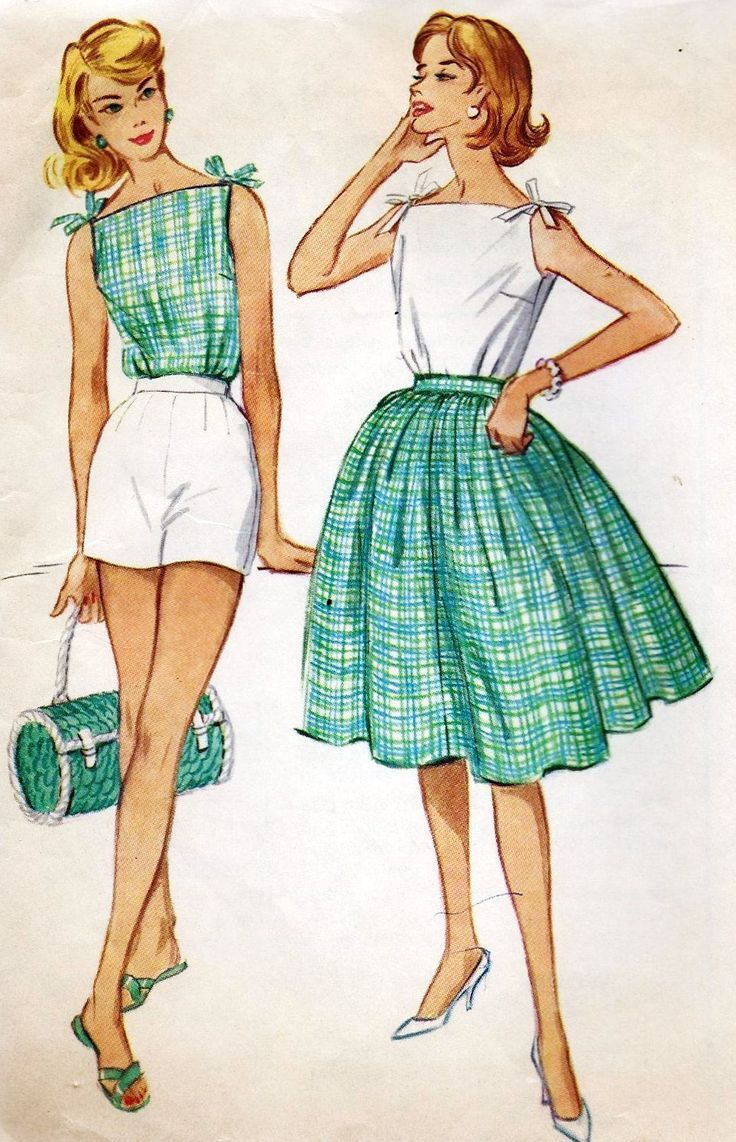 1960s Misses Summer Blouse, Skirt, Shorts Vintage Sewing Pattern ...