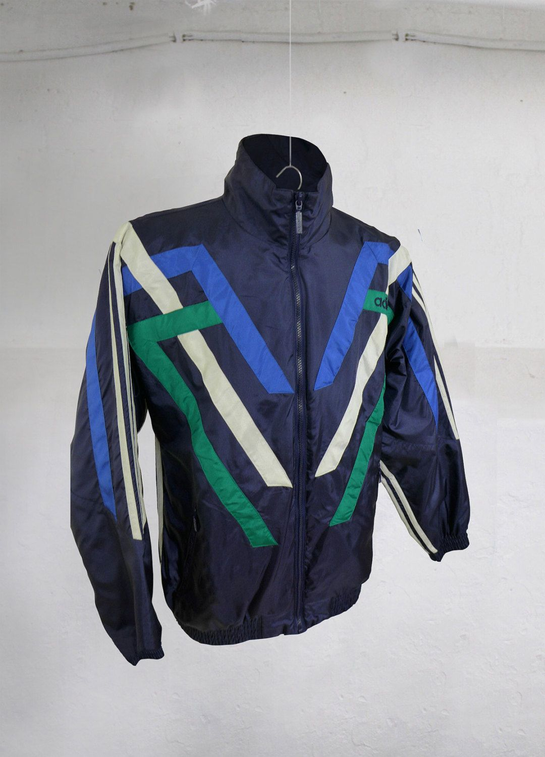 0b3d20c86124 Vintage 90S Adidas Tracksuit Top Windbreaker Jacket Blue White Green Size L XL  by VapeoVintage on Etsy