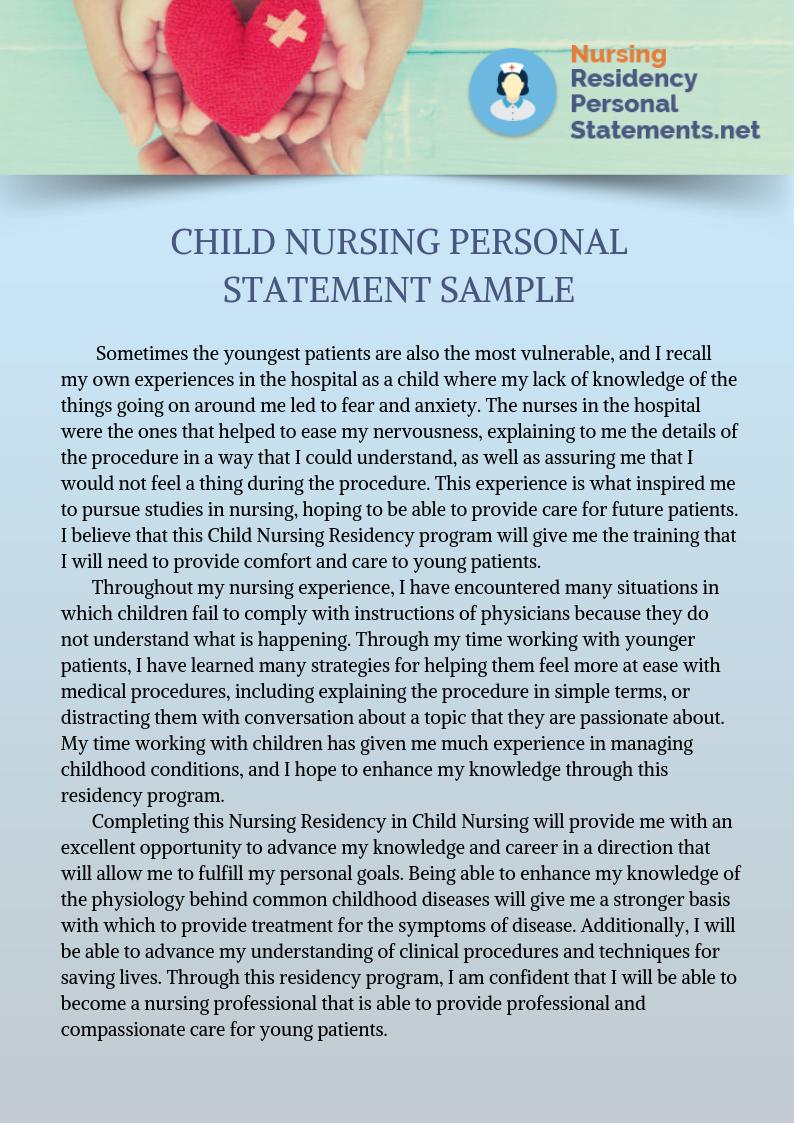 Child Nursing Personal Statement Sample Nurse Gi