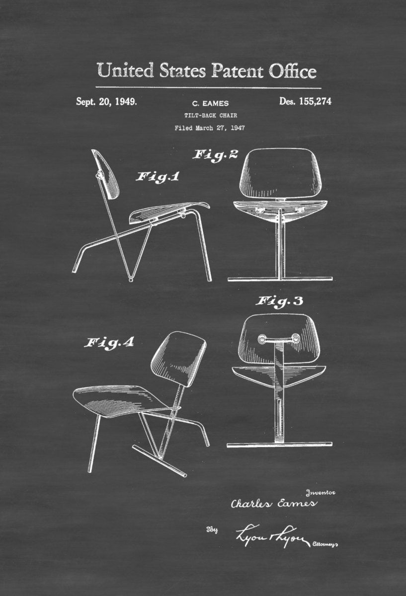 eames chair patent print - chair patent, furniture patent