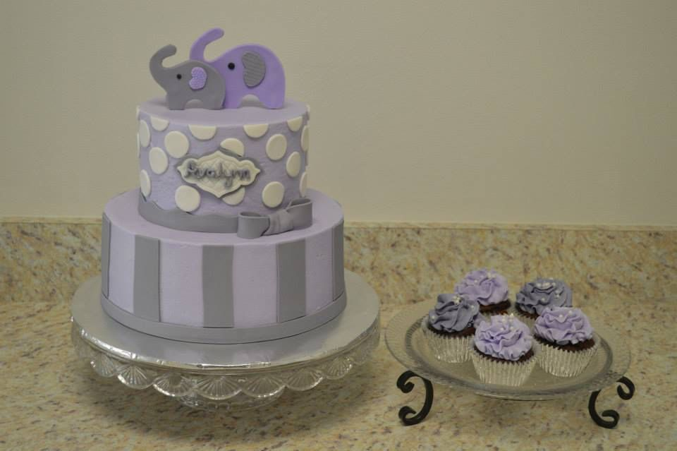 Baby Shower Cakes With Elephants ~ Purple and grey elephant baby shower cake and cupcakes my cakes