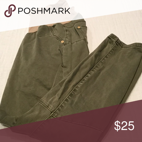c544195a7559e Olive green maternity pants Olive green denim with full waist band Luxe  Essentials Apparel Pants Skinny