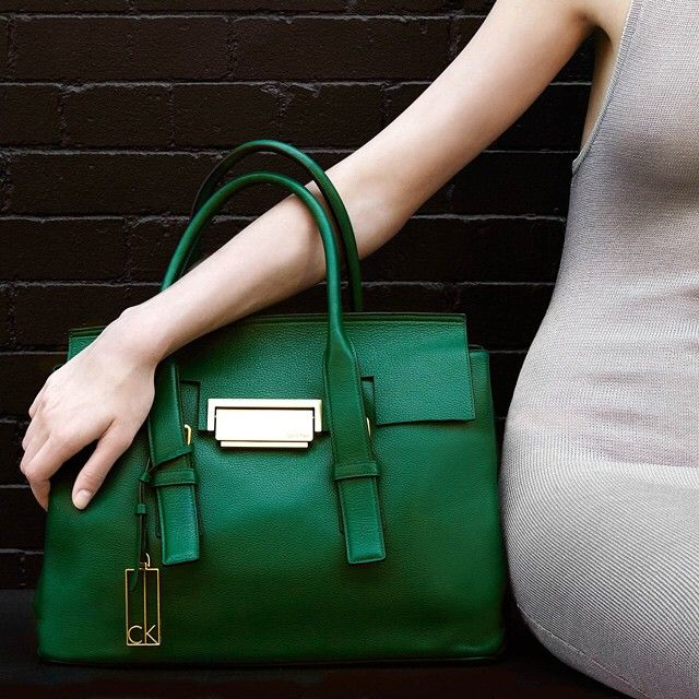 "« Green with envy. The ""Kelsey"" pebble leather satchel from Calvin Klein »"