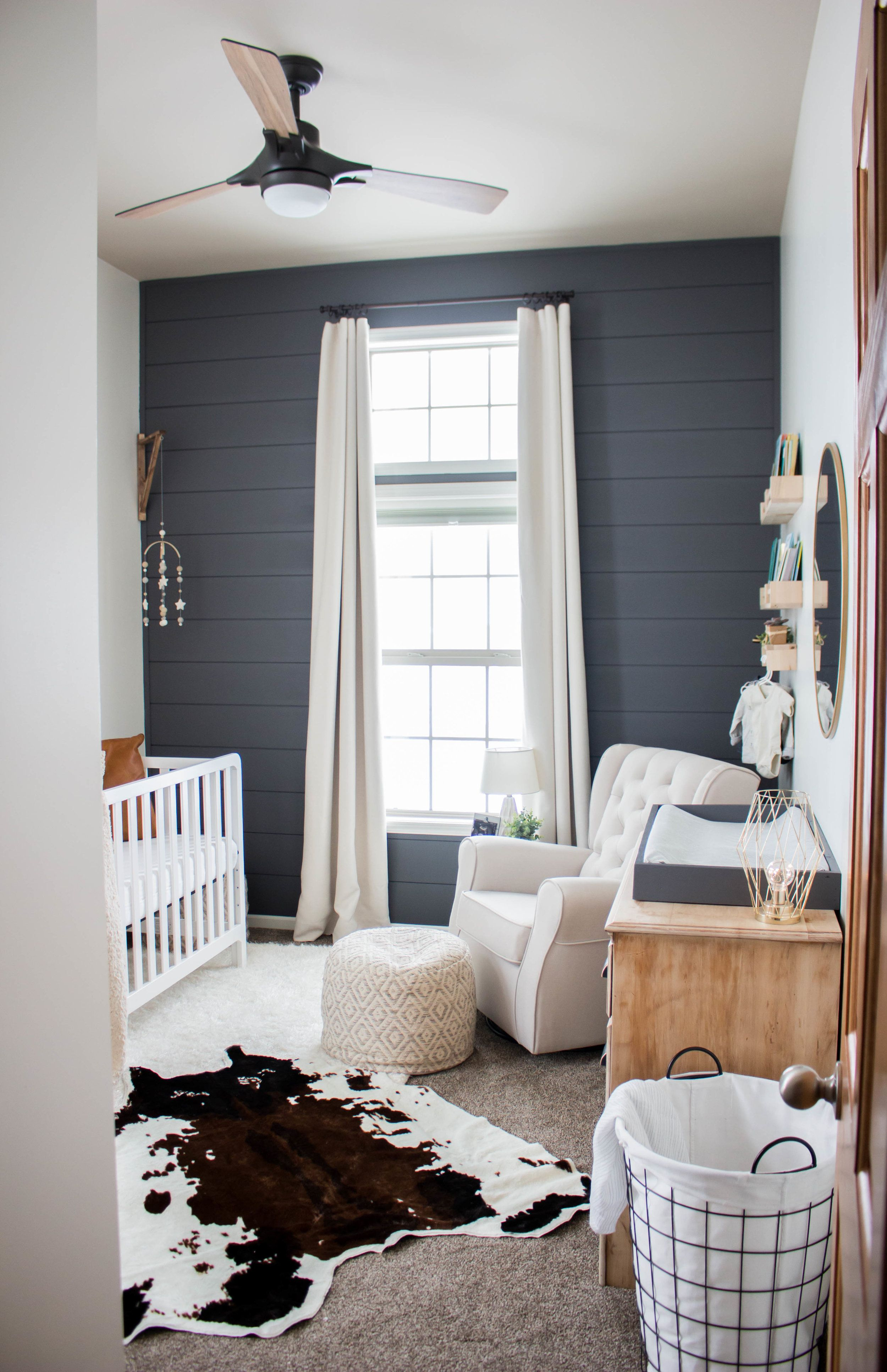 Baby Boy Nursery With Modern Farm House Vibes Gray Accent Wall Really Make The White Crib And Rocker Stand Out