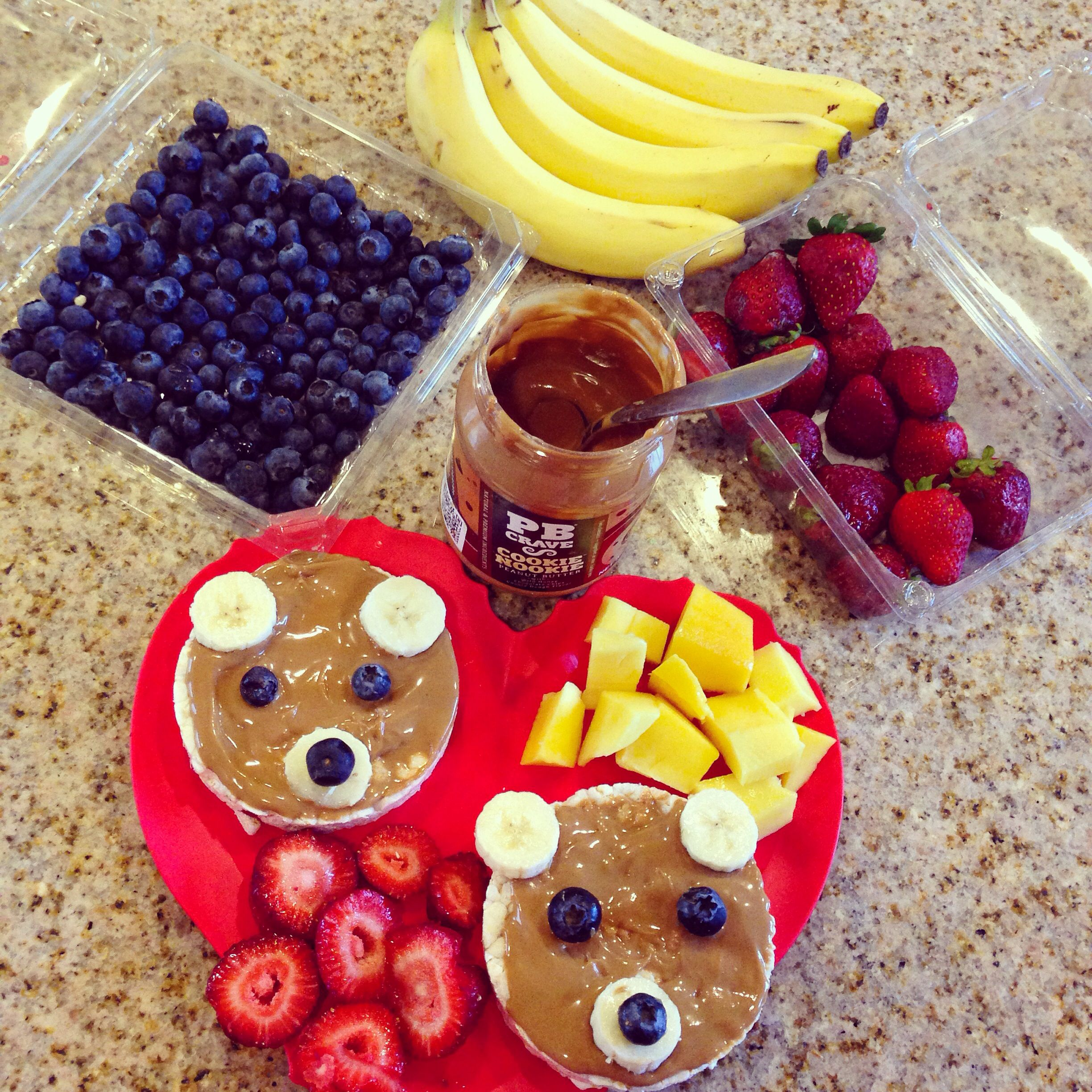 Kids food rice cakes and peanut butter bears food rice