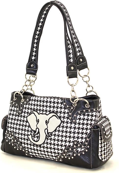 Houndstooth Purse With Elephant