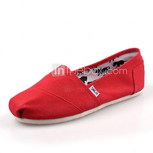 Shoes For Women Canvas Flat Heel Comfort Loafers Outdoor Casual Black Blue Red White